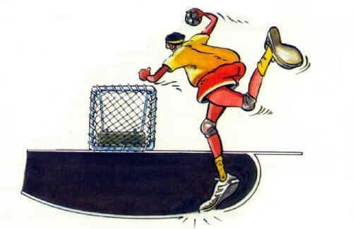 Tchoukball-Spielregeln: Der Angreifer berührt die verbotene Zone