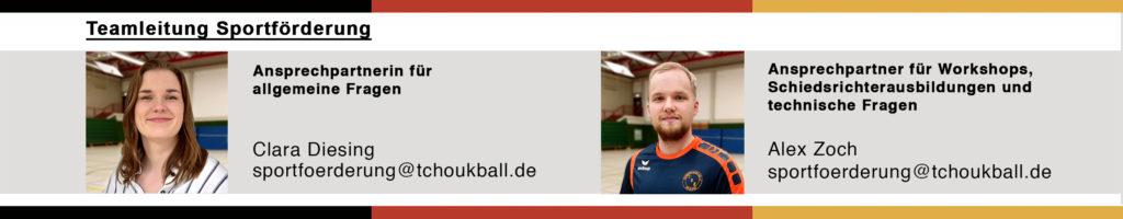 Teamleitung Sportförderung: Alex Zoch und Clara Diesing
